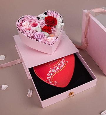 心形礼盒/永生花+瑞士莲软心巧克力施华洛世奇水晶元素礼盒