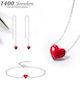 T400小红爱心形纯银项链耳线手链套装