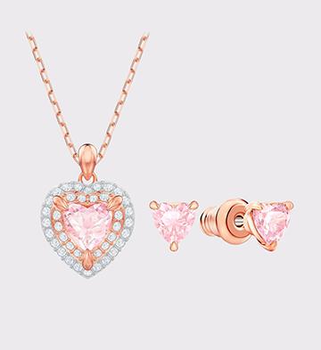 施华洛世奇ONE系列爱心项链+耳钉套装/镀玫瑰金色