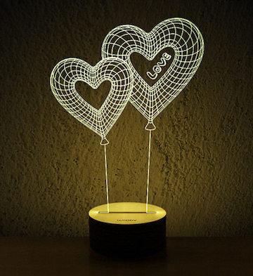 Woody3D木质创意LED灯/心恋