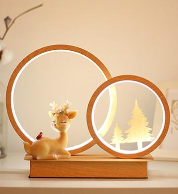 林深时见鹿/创意卡通小鹿小夜灯led实木台灯