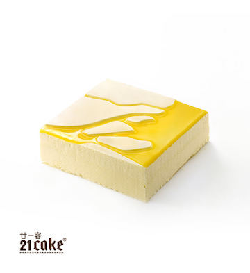 百香果酸乳酪慕斯蛋糕(1磅)+方形蜡烛