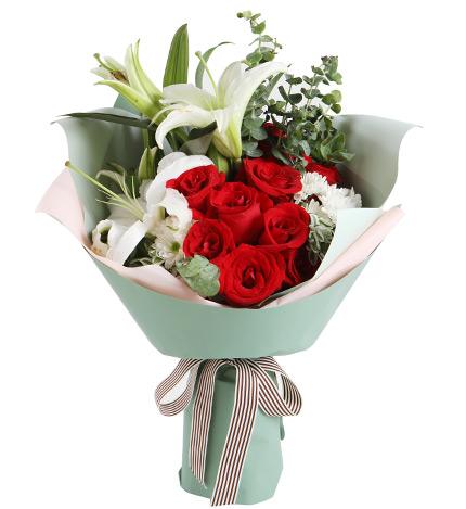 白百合、红玫瑰图片