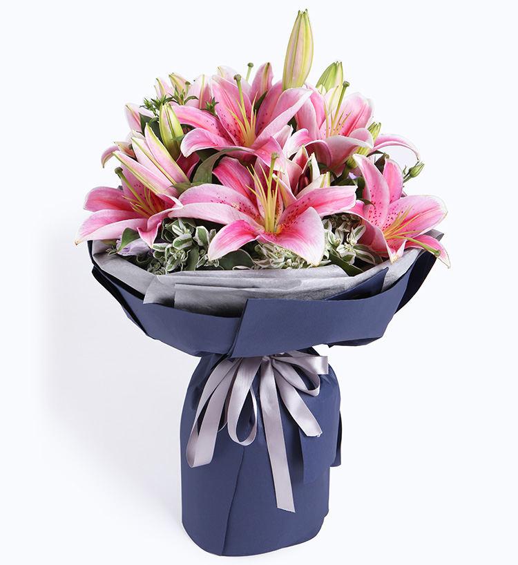 粉色香水百合、粉玫瑰图片