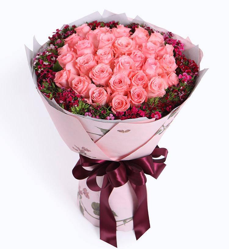 戴安娜粉玫瑰33枝图片