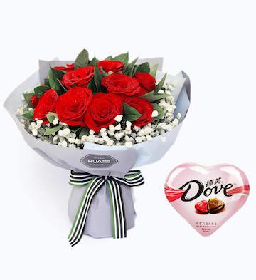 11枝红玫瑰+德芙心语巧克力98克特价组合套装