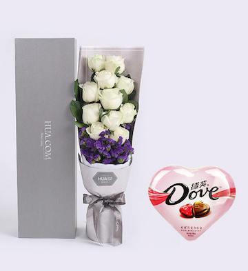 11枝白玫瑰+德芙心语巧克力组合套装